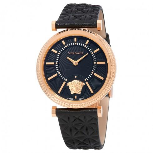 Versace V-Helix Black Dial Leather Ladies Watch | Hermosaz