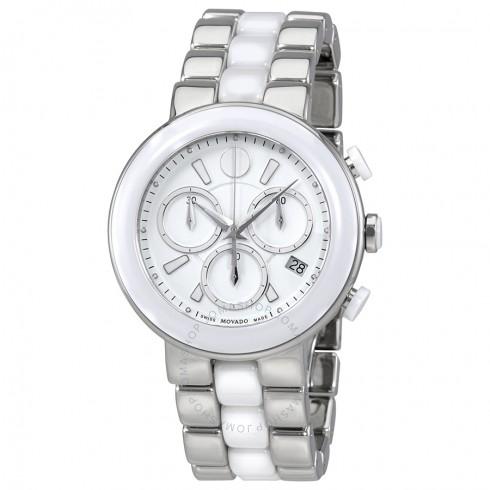 Movado Chronograph White Dial White Ceramic Ladies Watch | Hermosaz