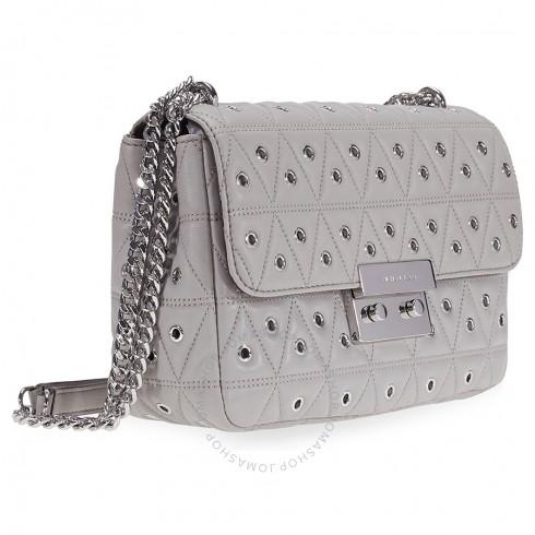Michael Kors Sloan Large Studded Shoulder Bag- Pearl Grey | Hermosaz