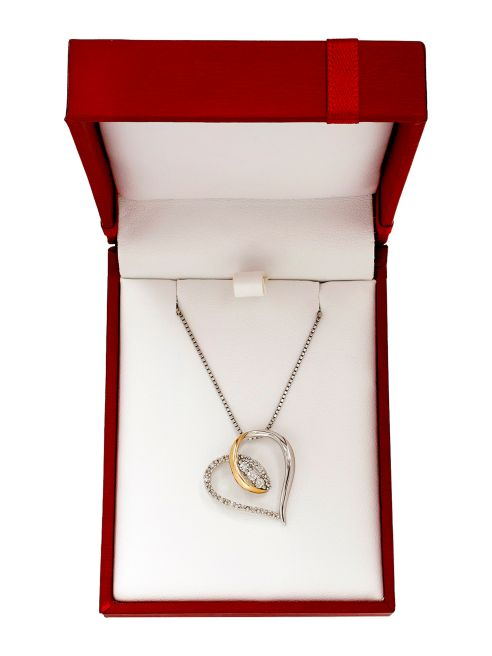 Lord & Taylor 14K Yellow Gold and Silvertone Heart Pendant Necklace | Hermosaz