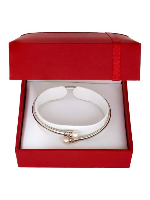 Lord & Taylor Diamonds, 6.5MM Round Freshwater Pearls and 14K Yellow Gold Bangle Bracelet | Hermosaz
