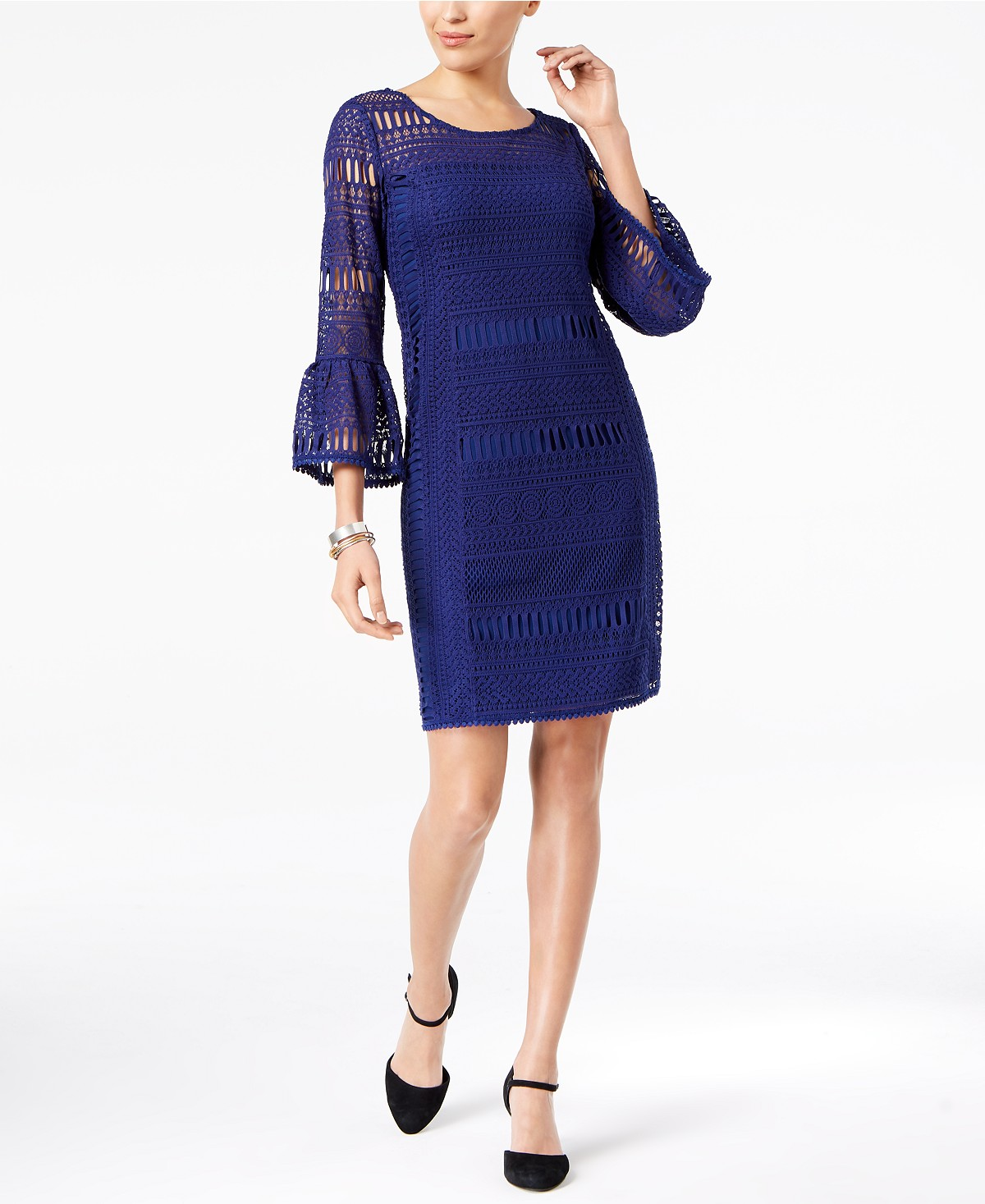 Alfani Trumpet-Sleeve Crochet Dress, Created For Macy's | Hermosaz