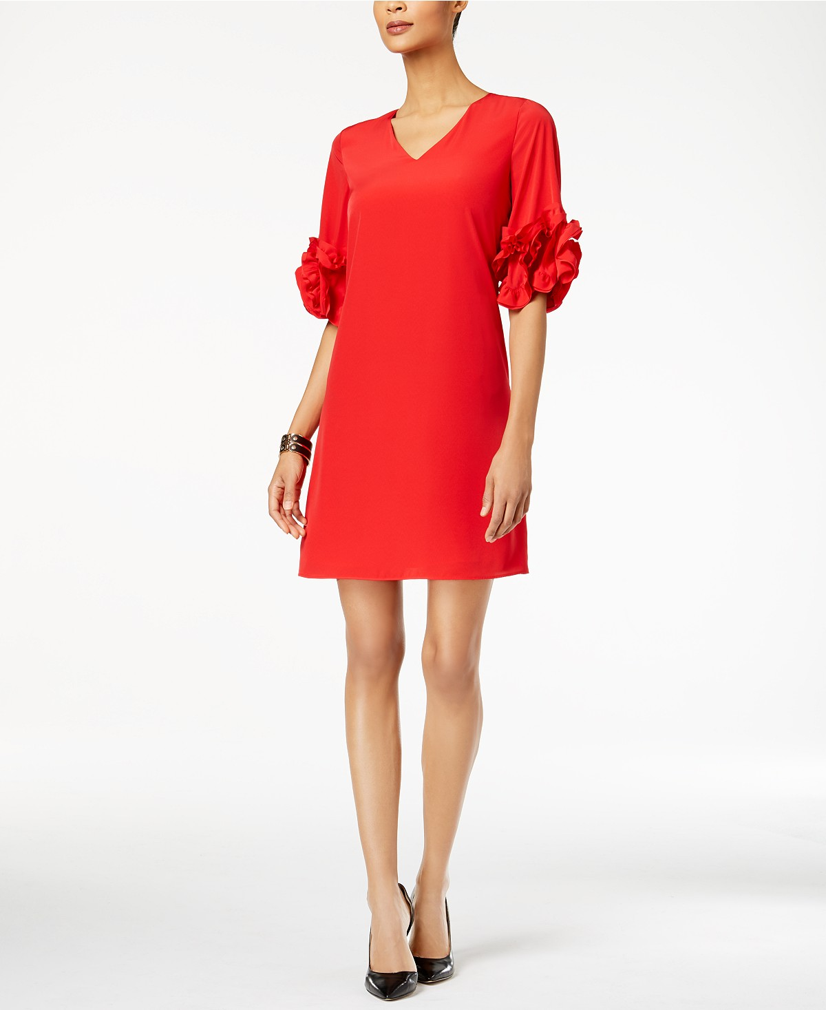 Alfani Ruffle-Sleeve A-Line Dress, Created for Macy's | Hermosaz
