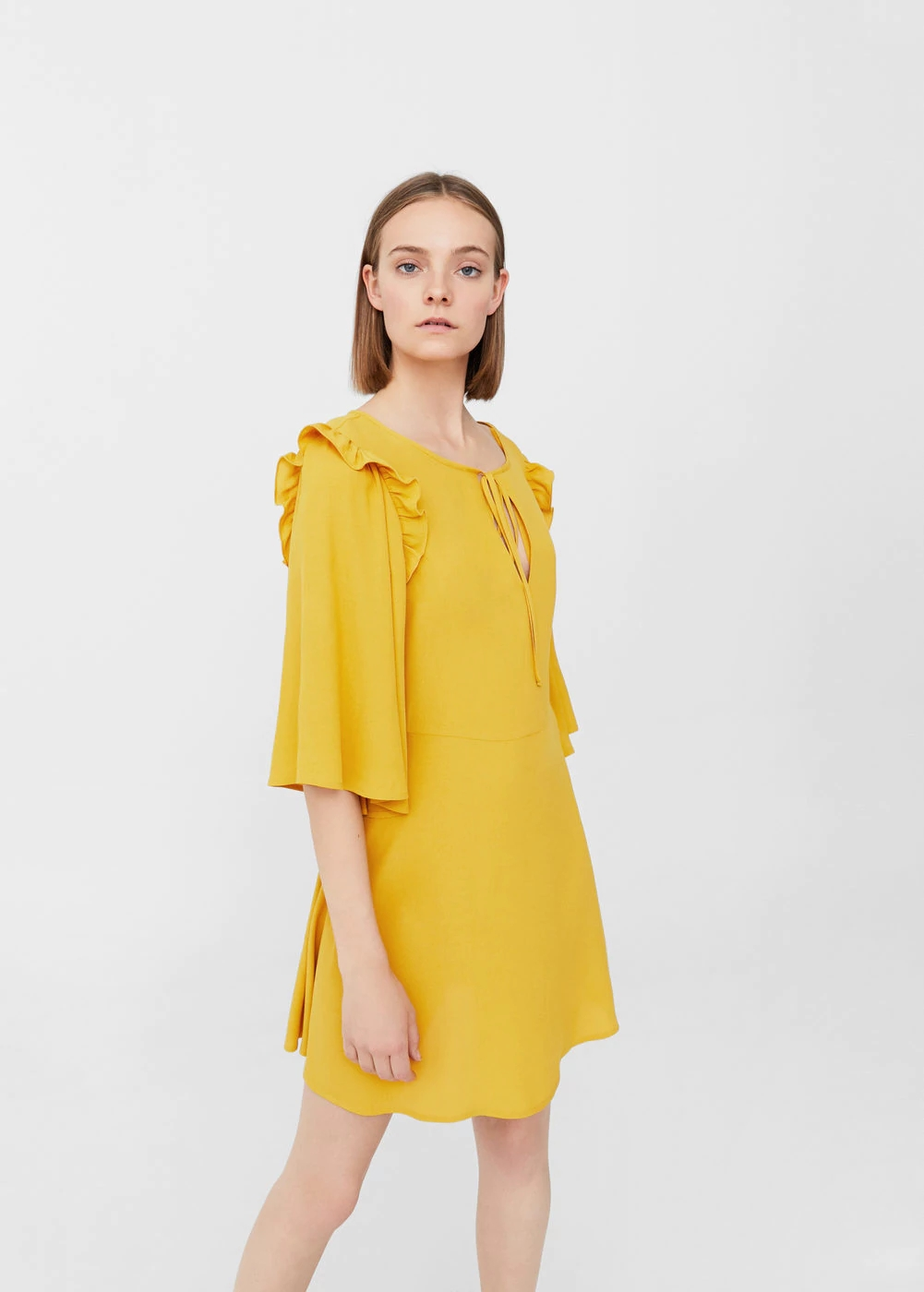 Mango Flared Sleeves Dress | Hermosaz