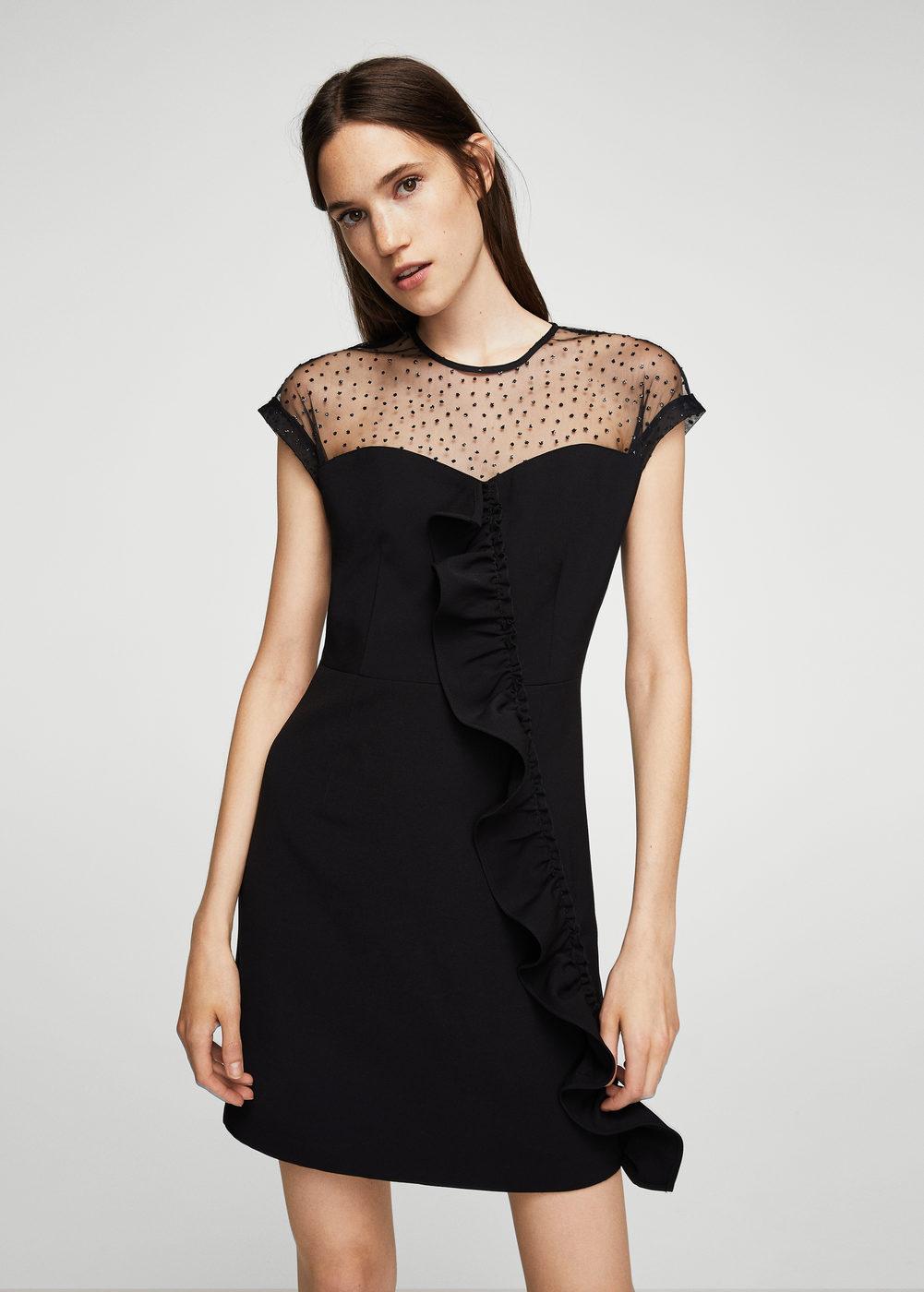 Mango Ruffle Plumeti Dress | Hermosaz