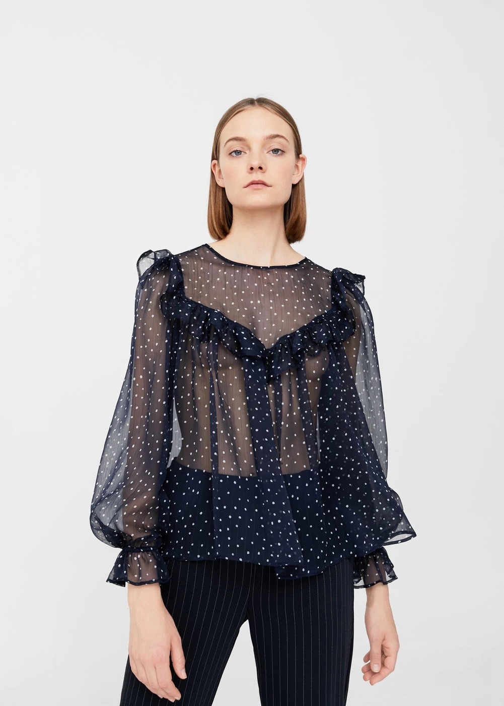 Mango Polka-dot flowy blouse | Hermosaz