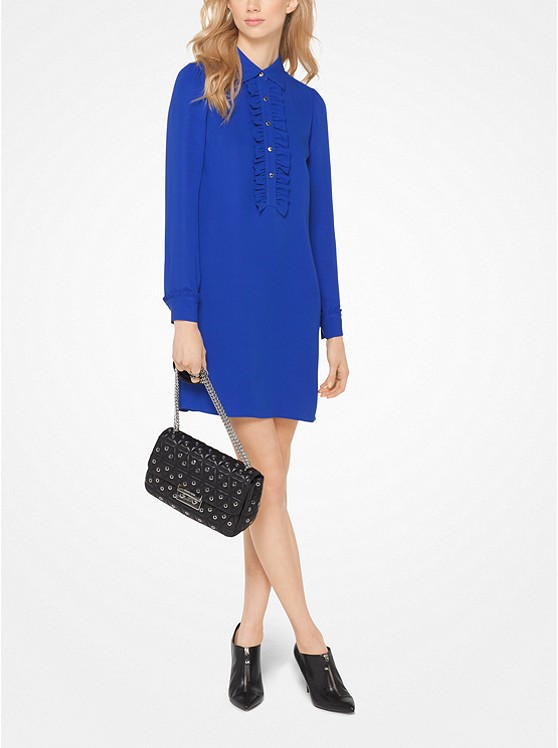 Michael Michael Kors Ruffled Silk-Georgette Shirtdress | Hermosaz