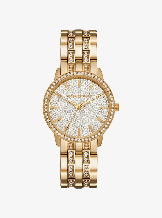Michael Michael Kors Nini Pavé Gold-Tone Watch | Hermosaz