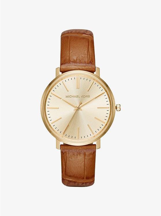 Michael Michael Kors Jaryn Gold-Tone and Embossed-Leather Watch | Hermosaz