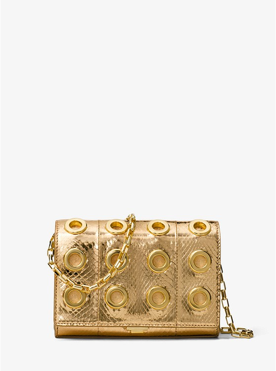 Michael Kors Collection Yasmeen Small Grommeted Metallic Snakeskin Clutch | Hermosaz