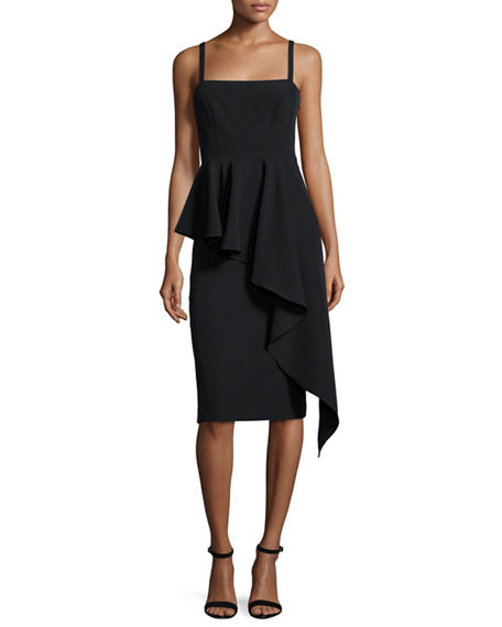Milly Italian Cady Cascading Ruffle Midi Sheath Dress | Hermosaz