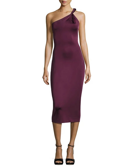 Cushnie Et Ochs Twist-Strap One-Shoulder Cocktail Dress, Maroon | Hermosaz
