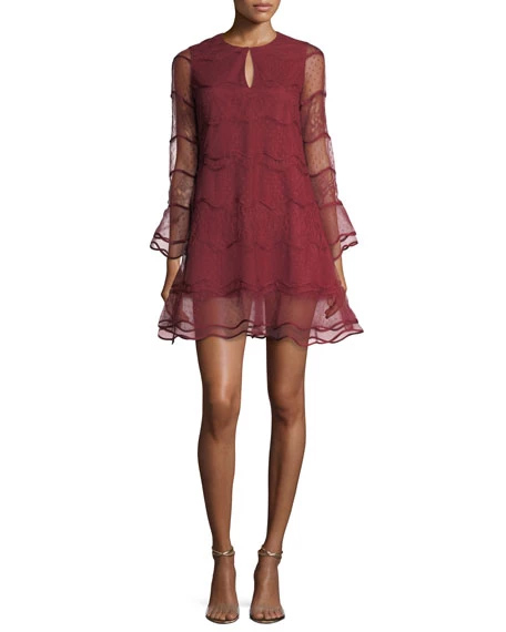Sachin & Babi Avant Wavy Jewel-Neck Mesh Cocktail Dress w/ Lace | Hermosaz