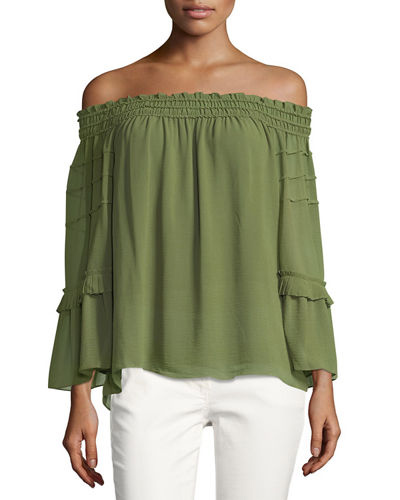 Max Studio Off-the-Shoulder Tiered Blouse | Hermosaz