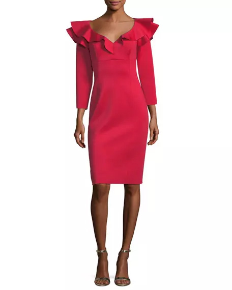 Rickie Freeman For Teri Jon Ruffle-Shoulder Long-Sleeve Neoprene Cocktail Dress | Hermosaz