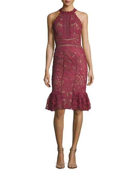 Marches Notte Lace Ruffle-Hem Halter Cocktail Dress | Hermosaz