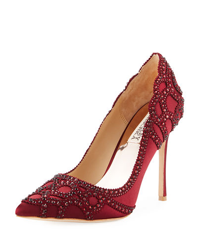 Bagdley Mischka Rouge Embellished Satin Pump | Hermosaz