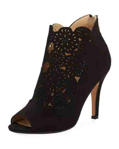 Adrienne Vittadini Gallant Open-Toe Laser-Cut Bootie, Black | Hermosaz