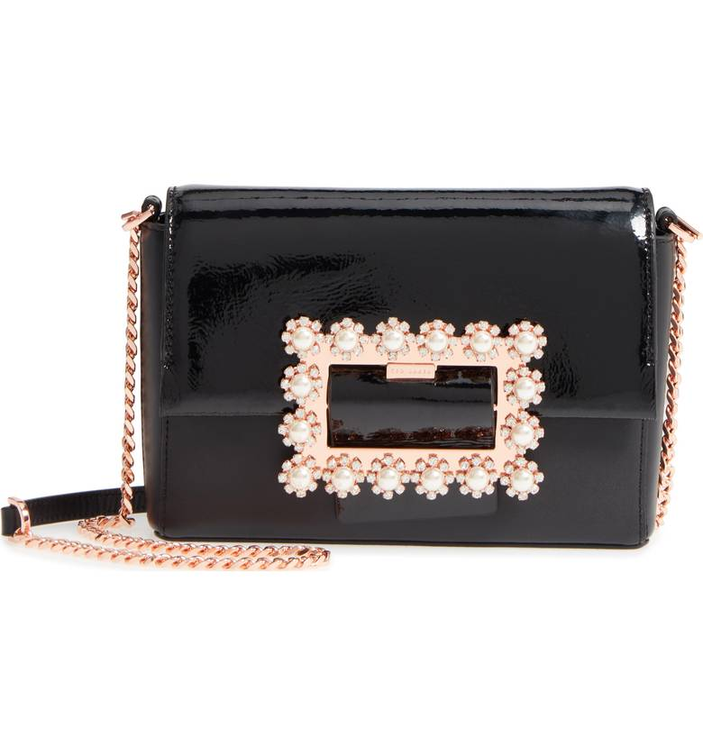 Peonyy Embellished Buckle Leather Clutch | Hermosaz