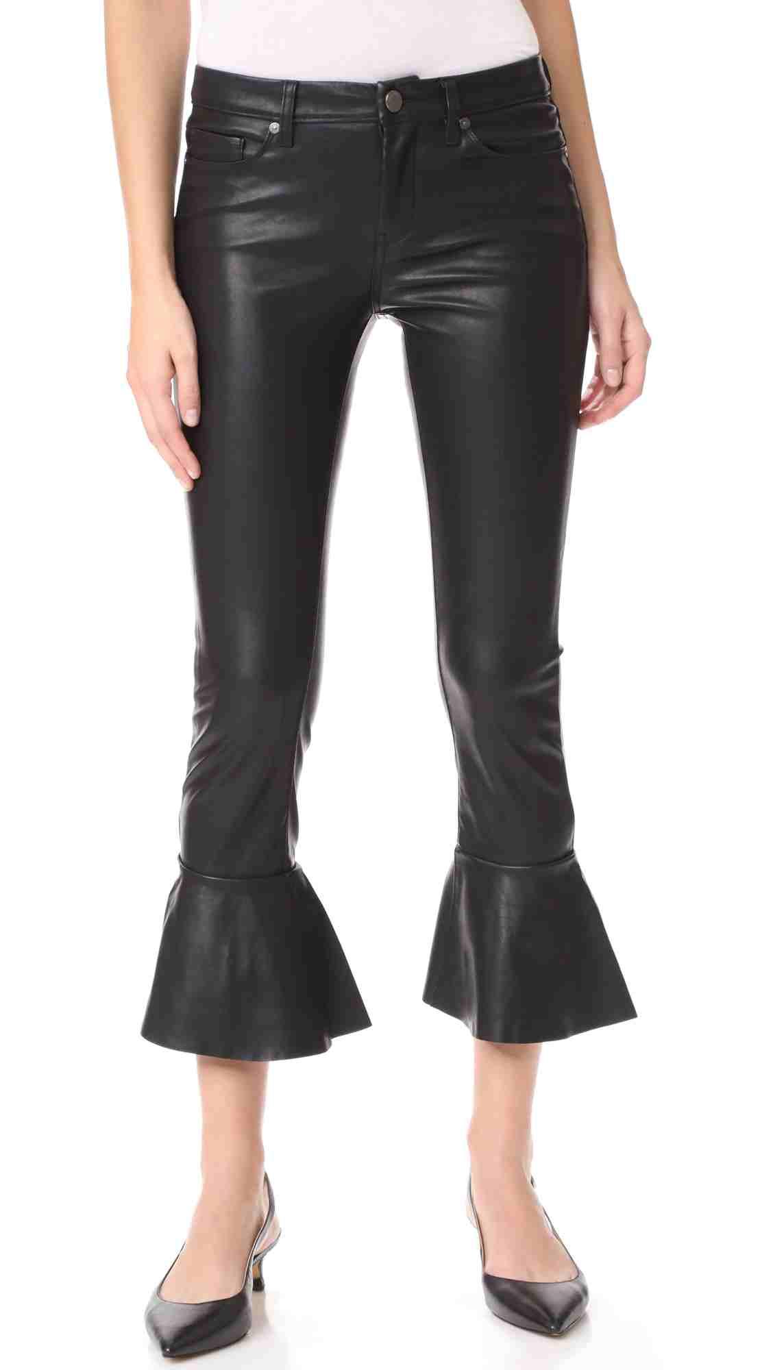 Black Denim Ruffle Butter Pants | Hermosaz