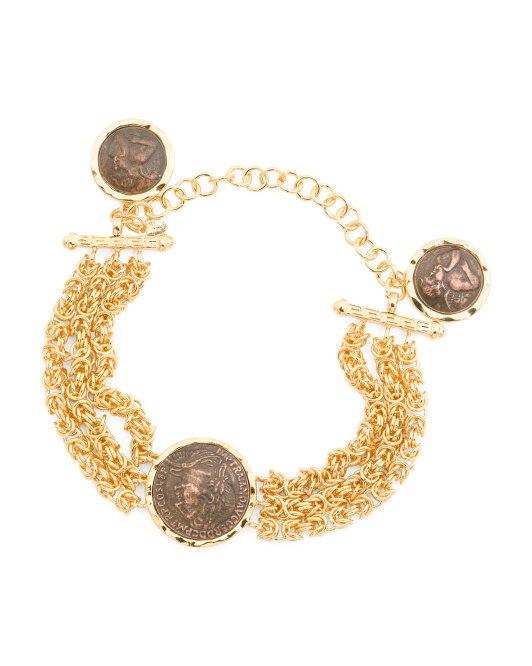 CONCETTA IOVANNI Made In Italy Gold Plated Byzantine Coin Bracelet | Hermosaz