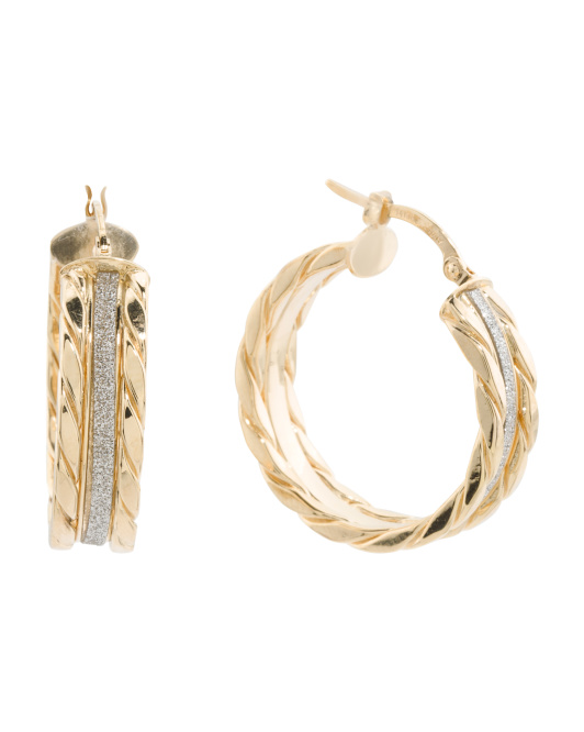 CONCETTA IOVANNI Made In Italy 14k Gold Glitter Cable Hoop Earrings | Hermosaz