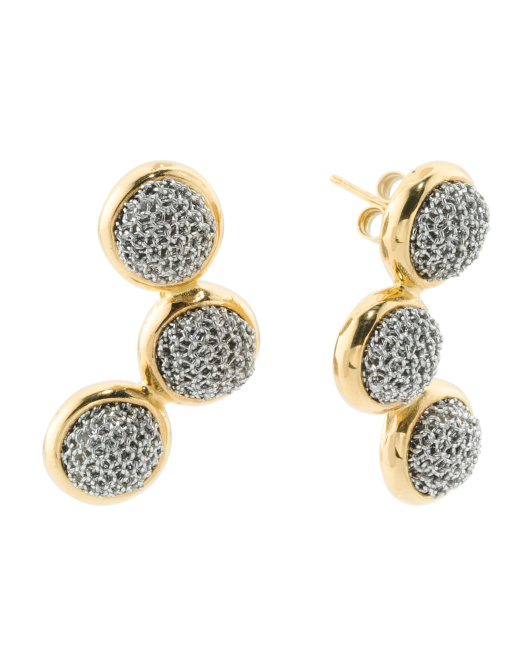 ADAMI & MARTUCCI Made In Bali Sterling Silver And Mesh Multi Circle Earrings | Hermosaz