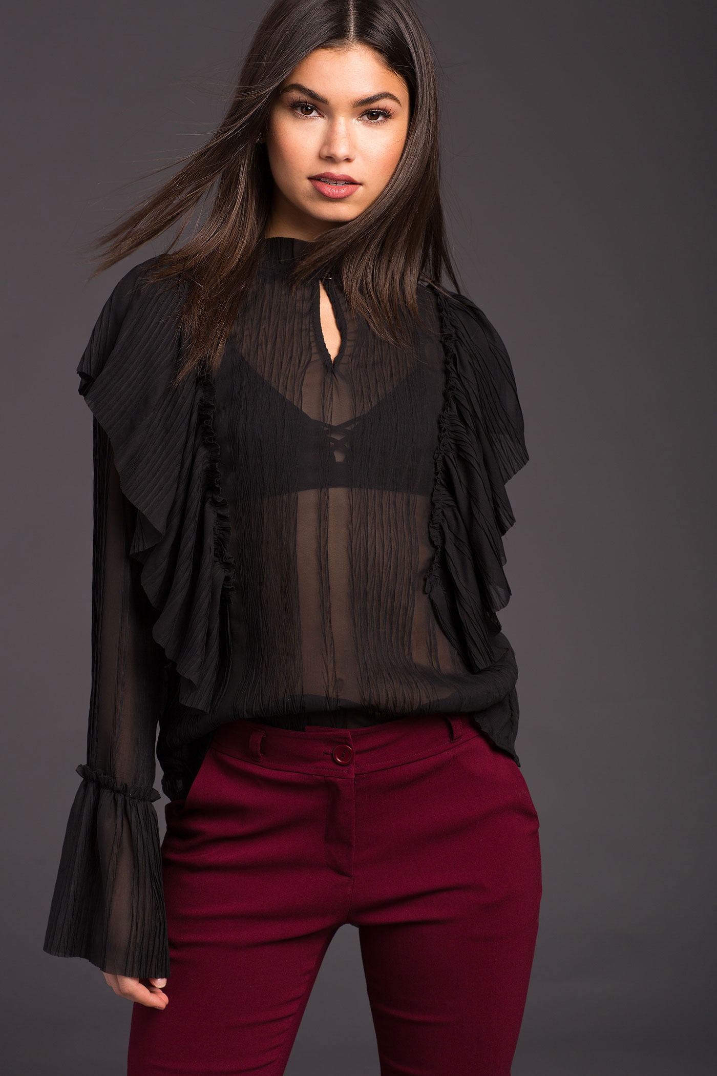 Sheer Black Ruffle Blouse | Hermosaz