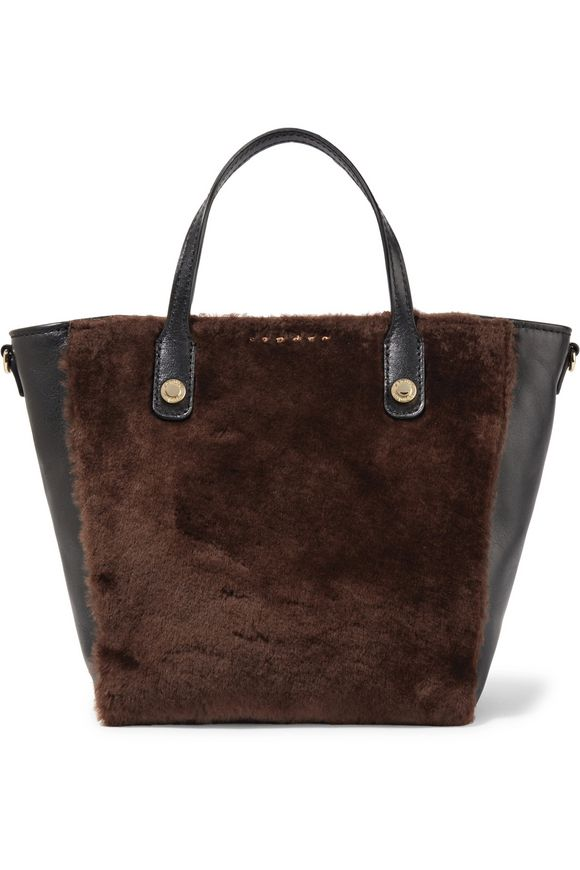 SANDRO Alana leather and shearling tote | Hermosaz