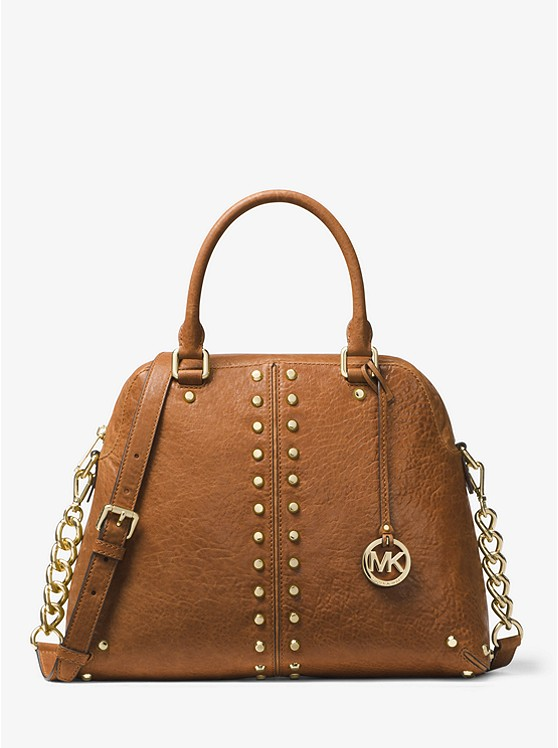 Astor Large Studded Leather Satchel | Hermosaz