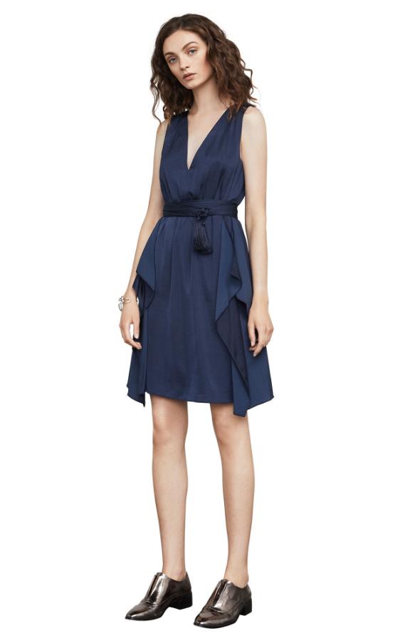 BCBG Cahya Ruffled Satin Dress | Hermosaz