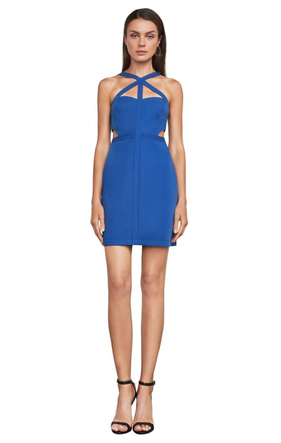 BCBG Desirae Satin Crisscross Dress | Hermosaz