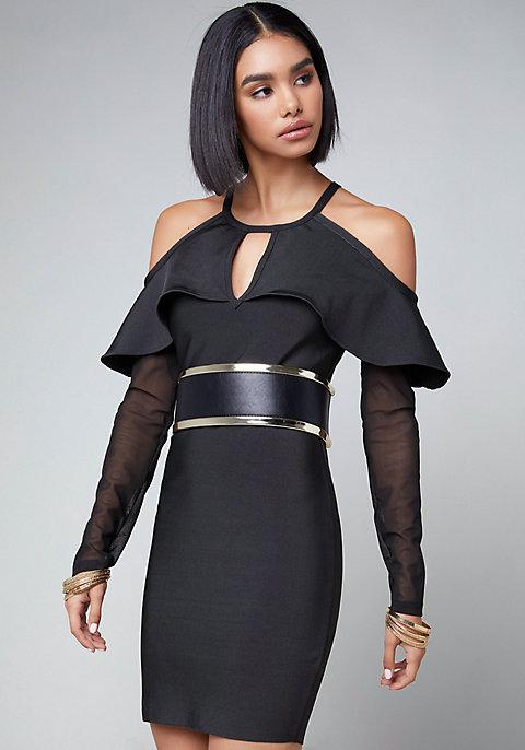 Bebe COLD SHOULDER BANDAGE DRESS | Hermosaz