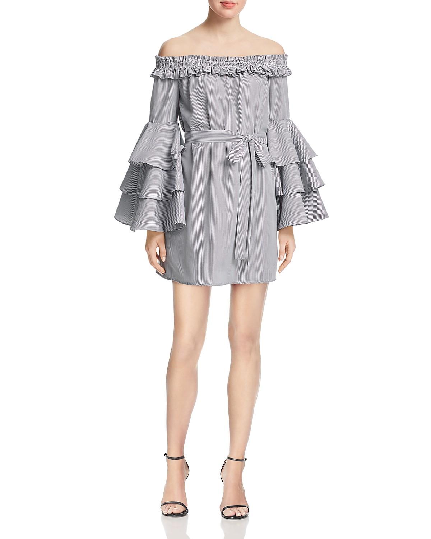 AQUA Striped Tiered-Sleeve Dress | Hermosaz