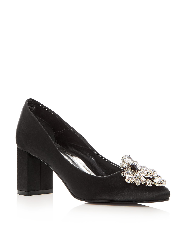 Caparros Women's Jeanette Embellished Satin Block Heel Pumps | Hermosaz