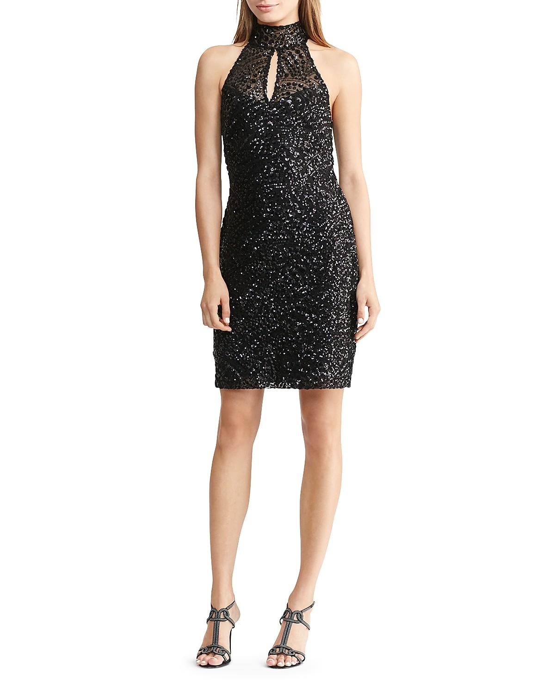 Lauren Ralph Lauren Sequin Mock-Neck Dress  | Hermosaz