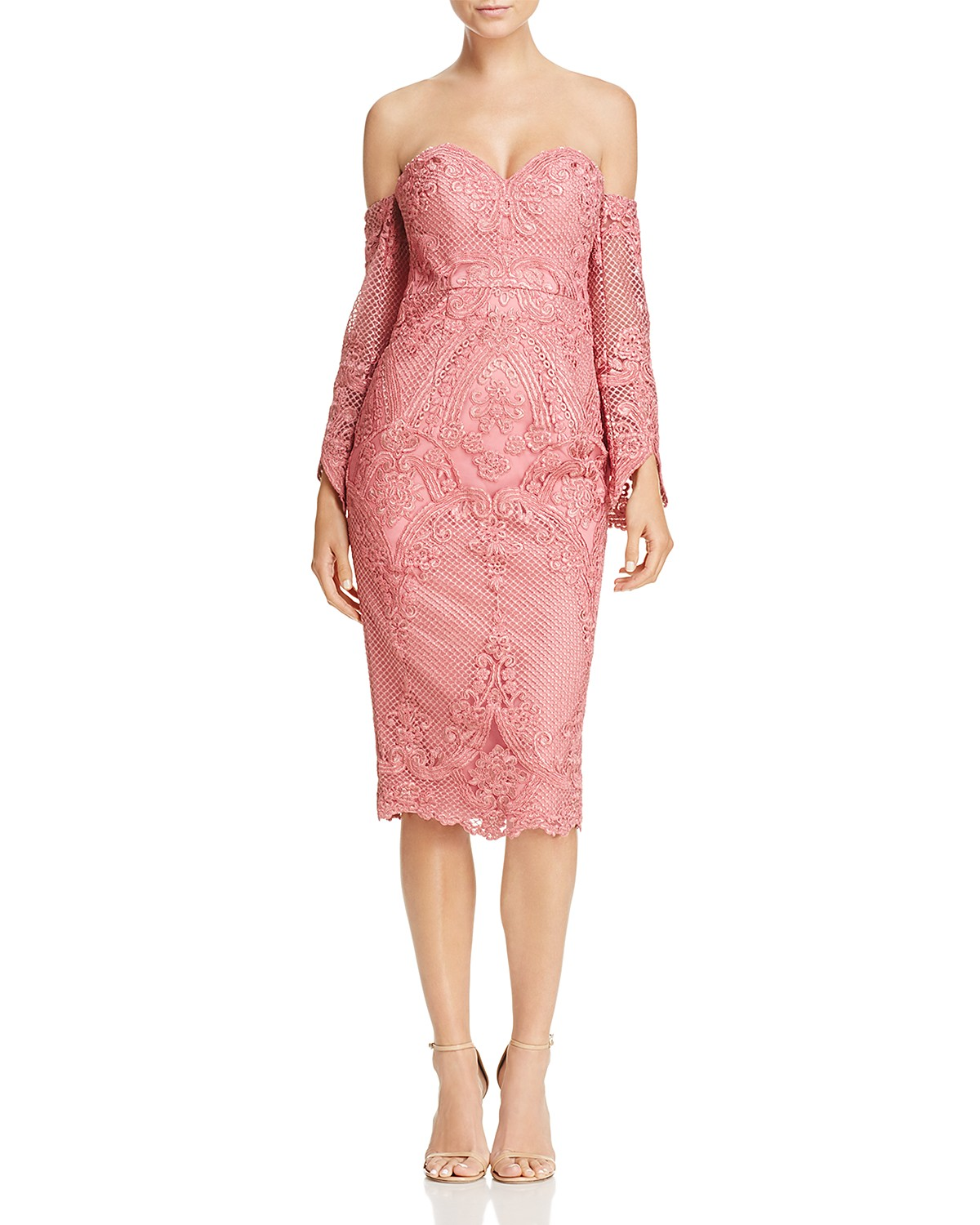 Bariano Portia Off-the-Shoulder Lace Dress | Hermosaz