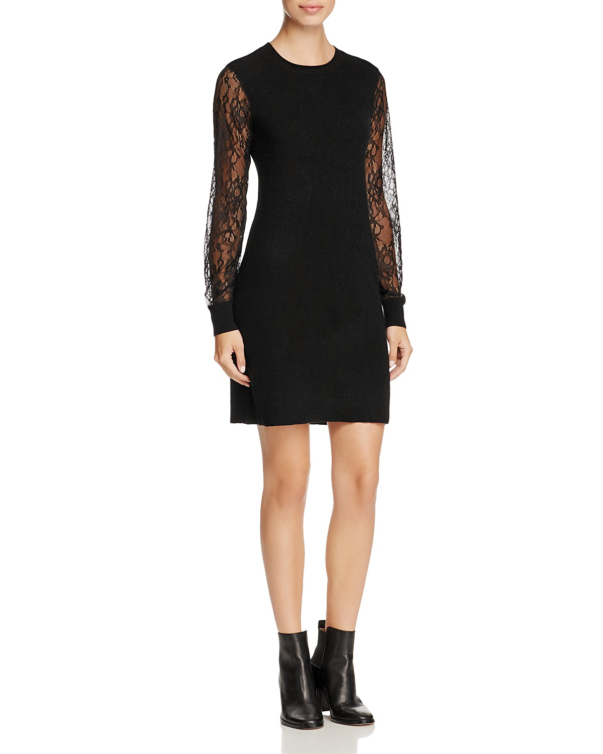 C by Bloomingdale's Lace-Sleeve Cashmere Sweater Dress | Hermosaz