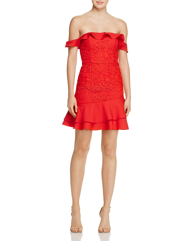 Jarlo Off-the-Shoulder Lace Mini Dress | Hermosaz