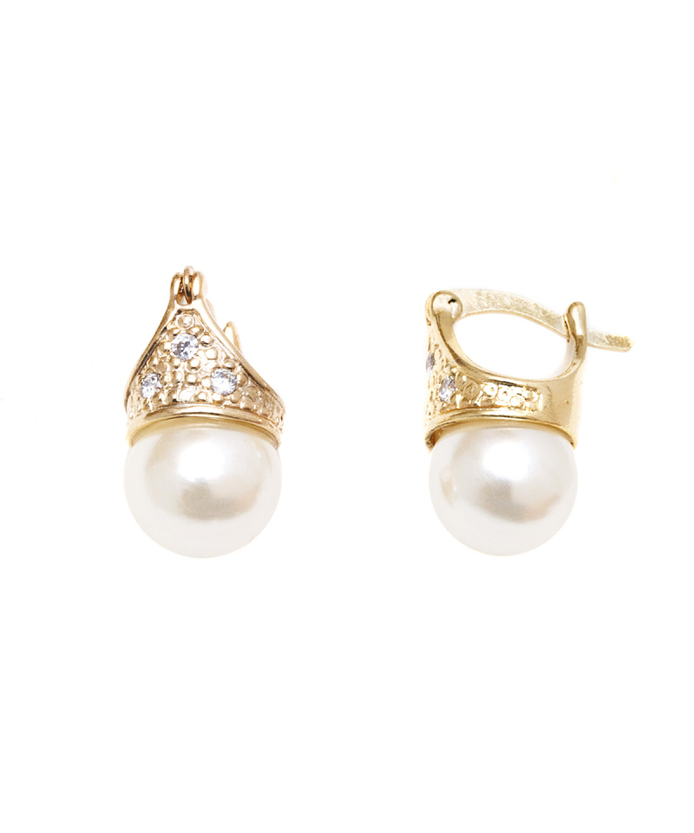 Peermont Gold & Pearl Ball Drop Earrings | Hermosaz