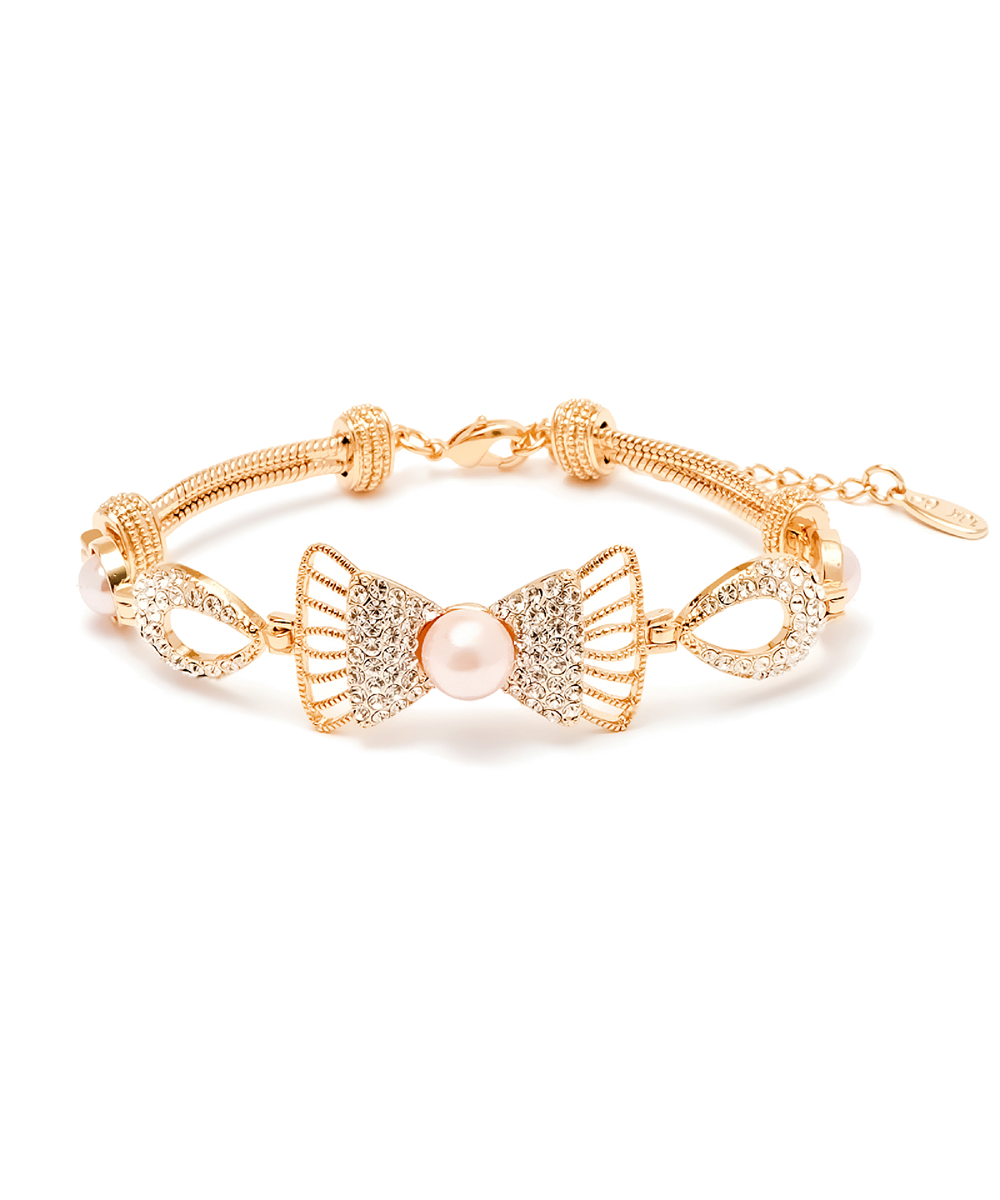 Peermont Natural Shell Pearl And Swarovski Elements Bow Bracelet | Hermosaz