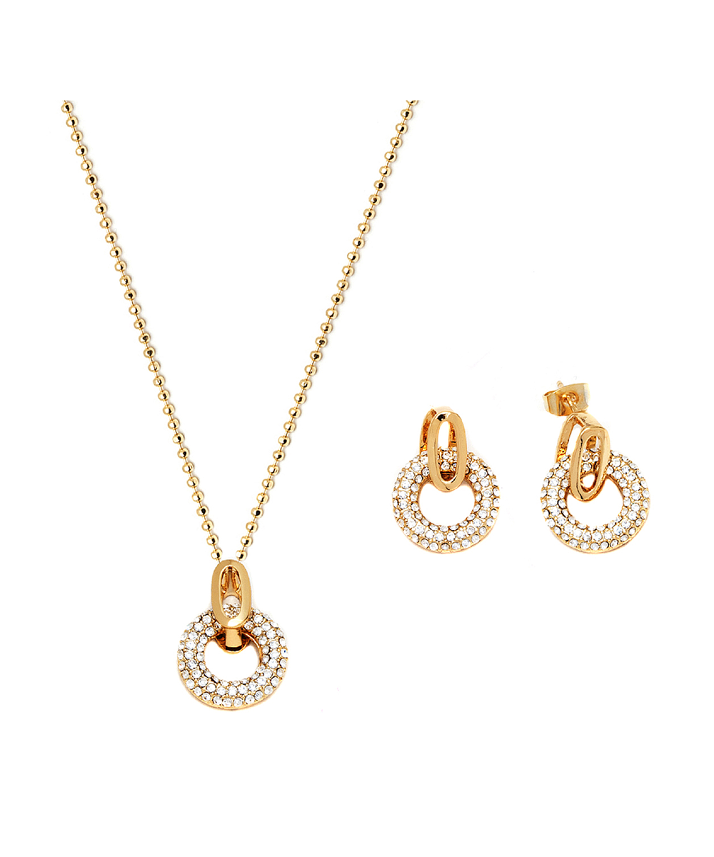 Peermont Gold And White Swarovski Elements Open Circle Drop Earrings And Pendant Necklace Set | Hermosaz