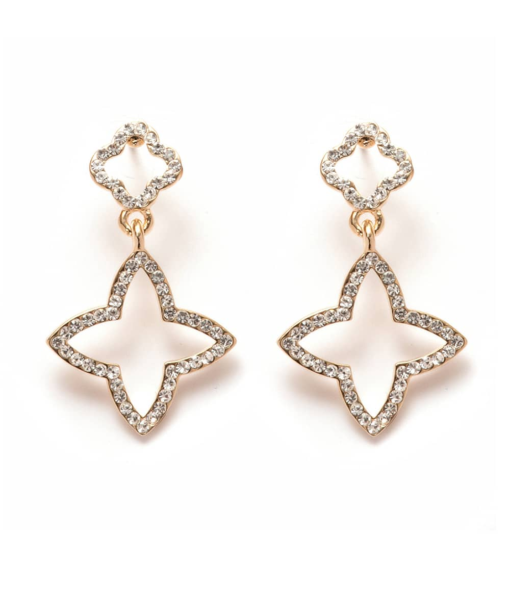 Peermont Gold And White Swarovski Elements Star Drop Earrings | Hermosaz