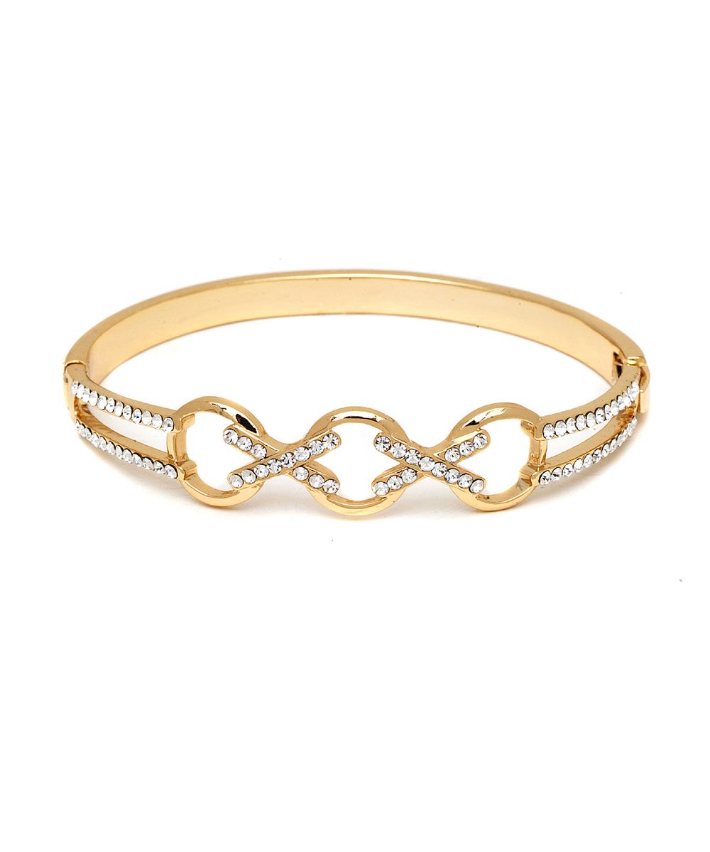 Peermont Gold And Swarovski Elements Crisscross Triple Ring Bangle | Hermosaz