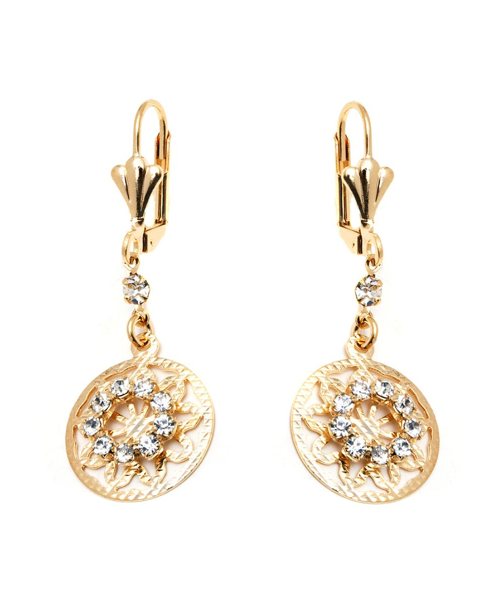 Peermont Gold & Crystal Round Drop Earrings | Hermosaz