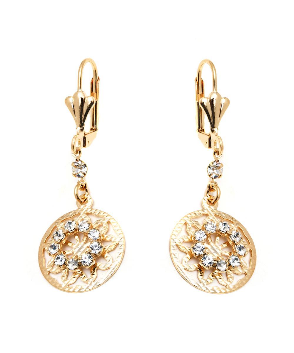 Peermont Gold & Crystal Round Drop Earrings | Hermosaz