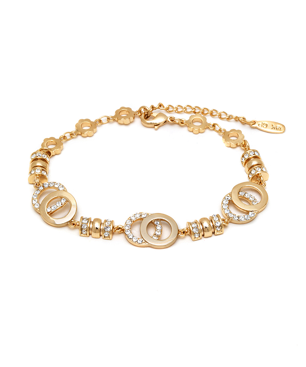 Peermont Gold Swarovski Elements Double Open Disc Bracelet | Hermosaz