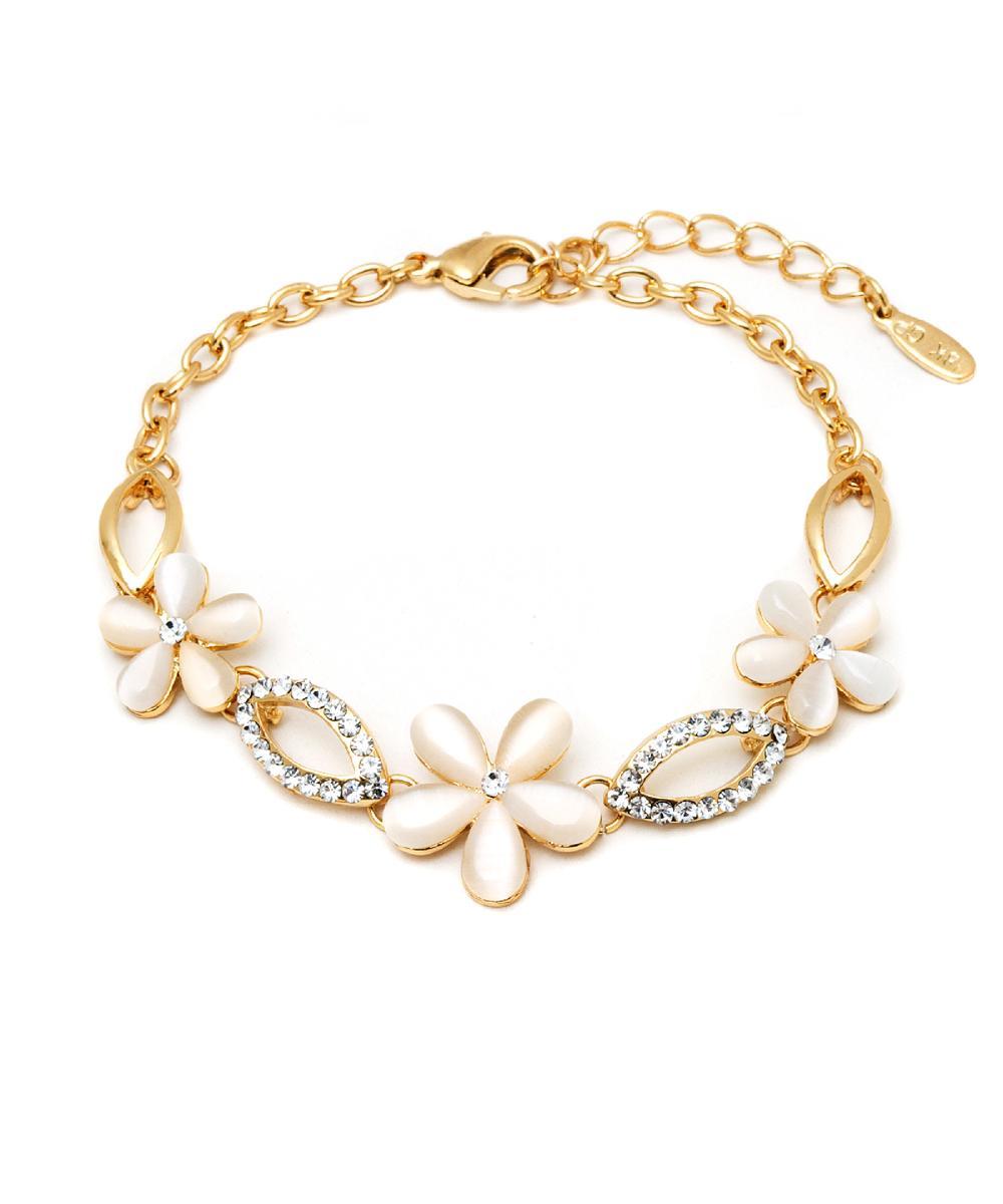 Peermont Gold And Crystal Elements Flower Link Bracelet | Hermosaz