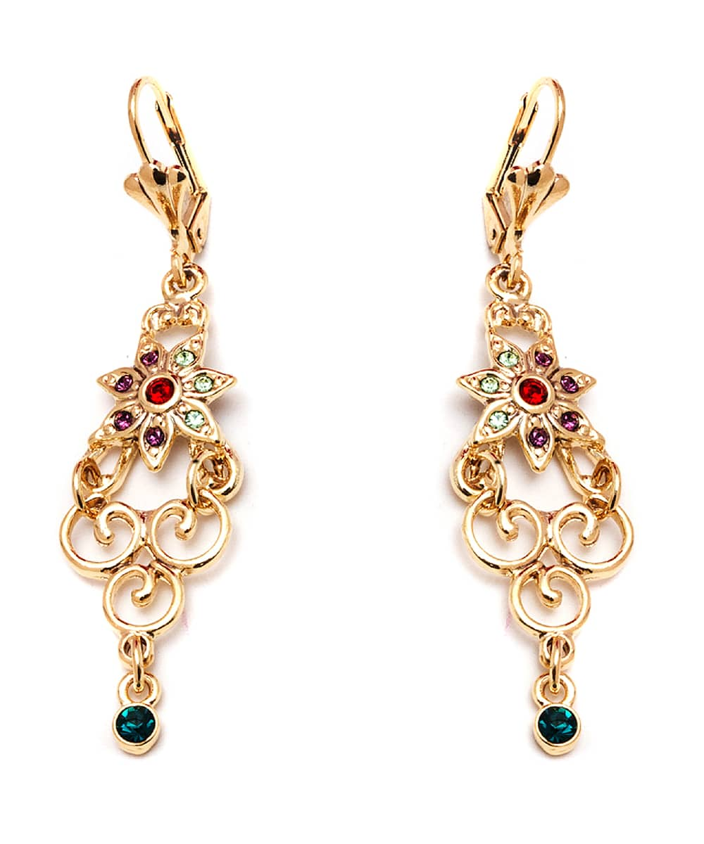 Peermont Gold And Crystal Elements Flower Drop Earrings | Hermosaz