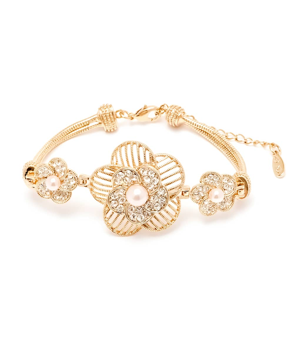 Peermont Natural Shell Pearl And Swarovski Elements Flower Bracelet | Hermosaz